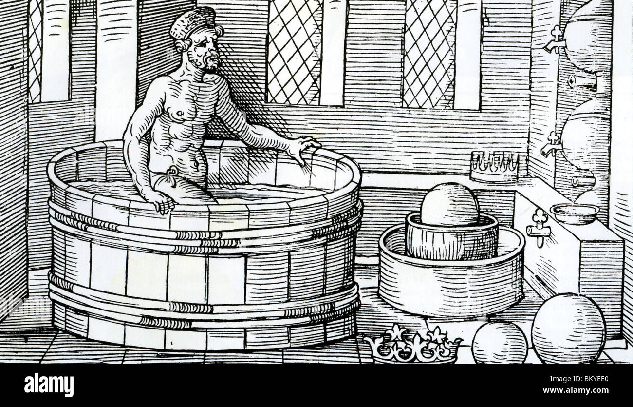 ARCHEMEDES in a Medieval German woodcut making his discovery about volume - Stock Image