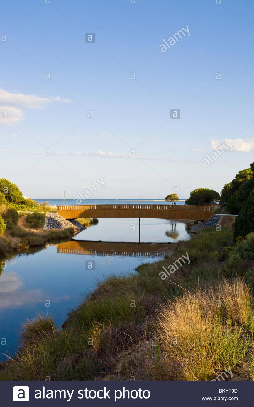 Mouth of a river at  Laguna del Portil, Province Huelva, Andalucia, Spain - Stock Image