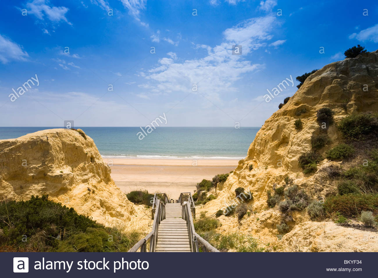Mazagón, Playa de Mazagón, steps from hotel Parador de Mazagón to the beach, Province Huelva, Andalucia, - Stock Image