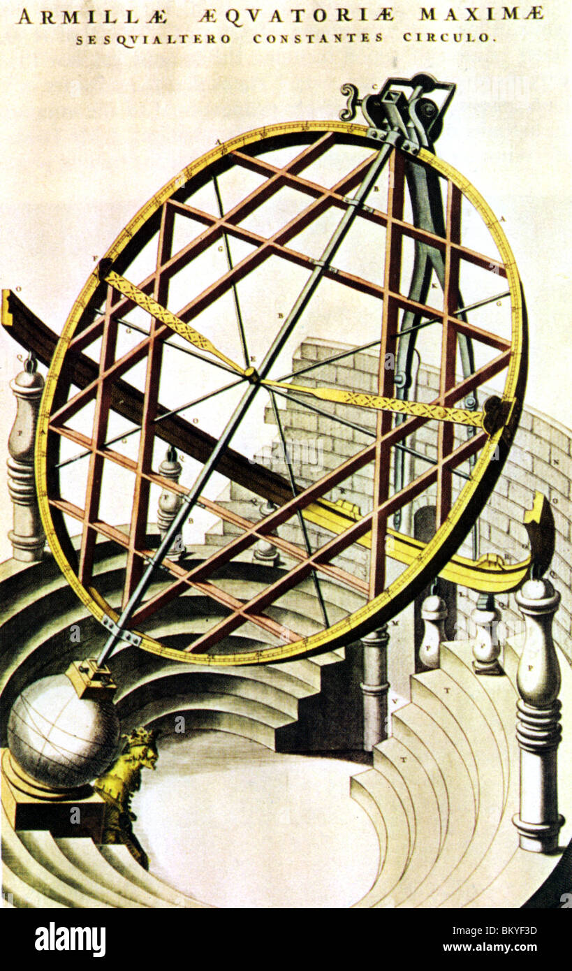 ARMILLARY SPHERE designed by Tycho Brahe from his book De Nova Stella published in 1573 - Stock Image