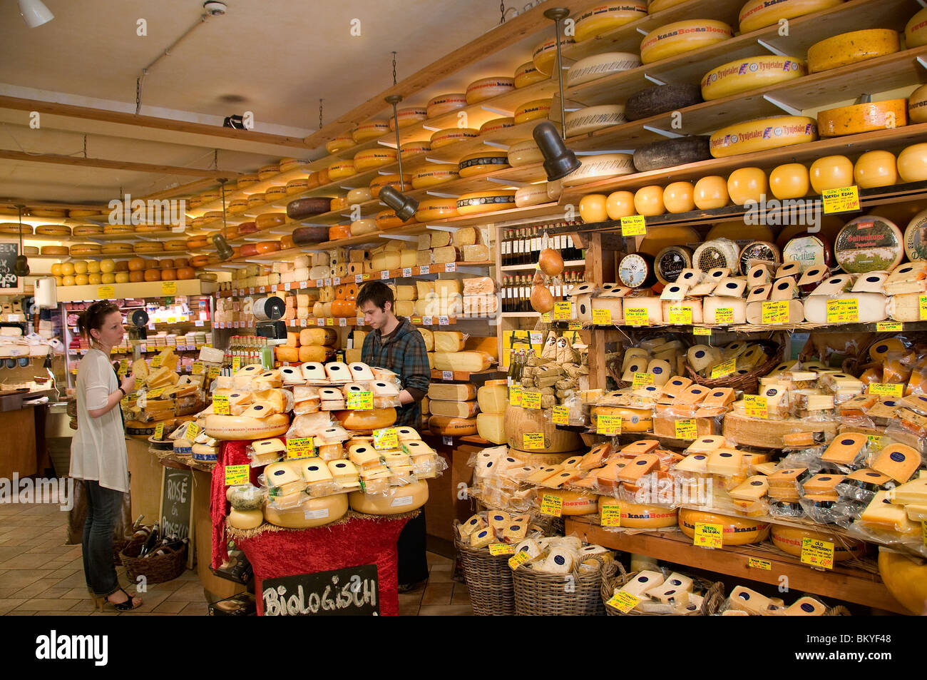 Amsterdam Jordaan Netherlands Holland cheesemonger cheese milk dairy - Stock Image