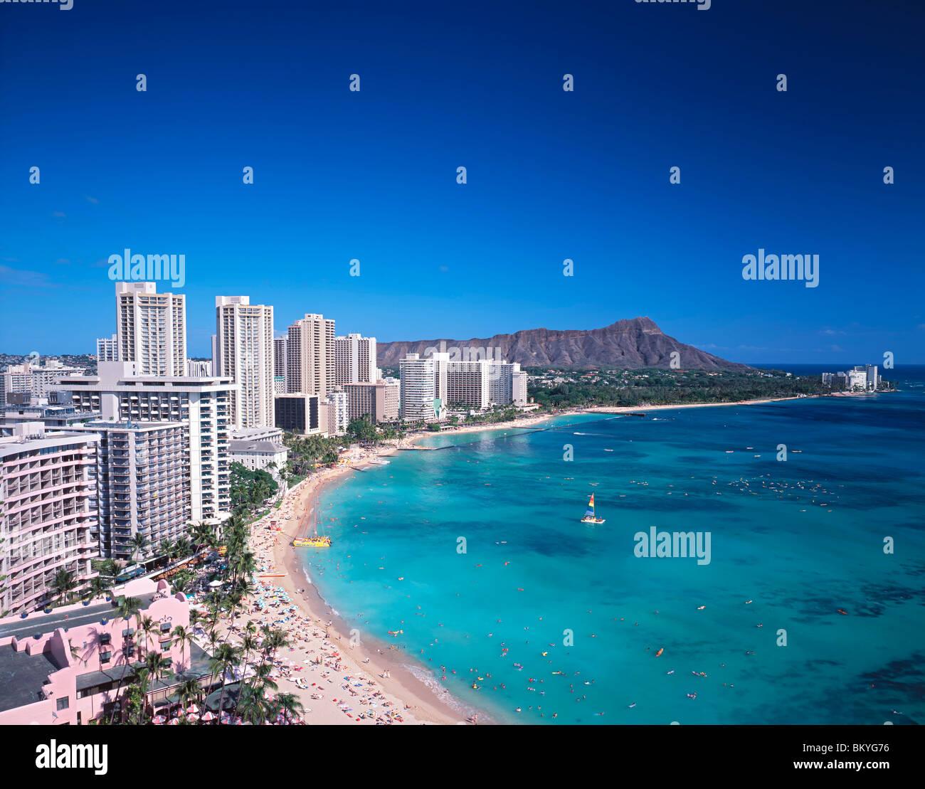 tropical Hawaii Waikiki beach and Diamond Head  palm tree - Stock Image