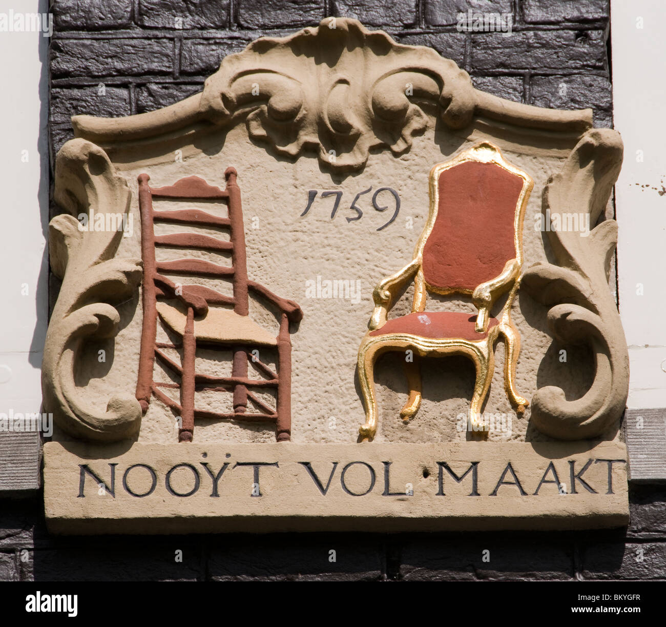 Amsterdam Canal House antique plaque wall tablet - Stock Image