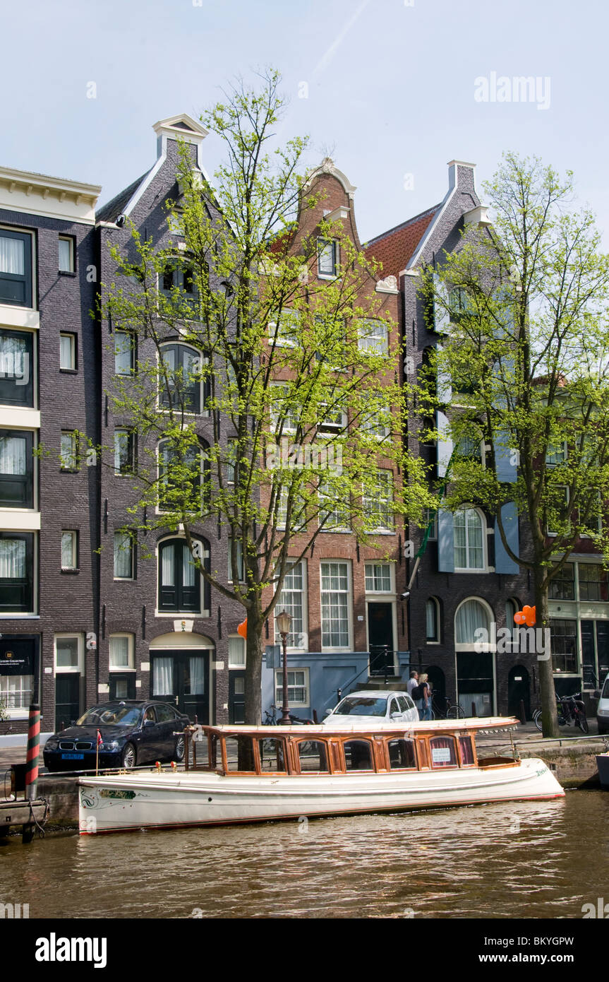 Amsterdam Holland Jordaan  Prinsengracht boat canal house - Stock Image