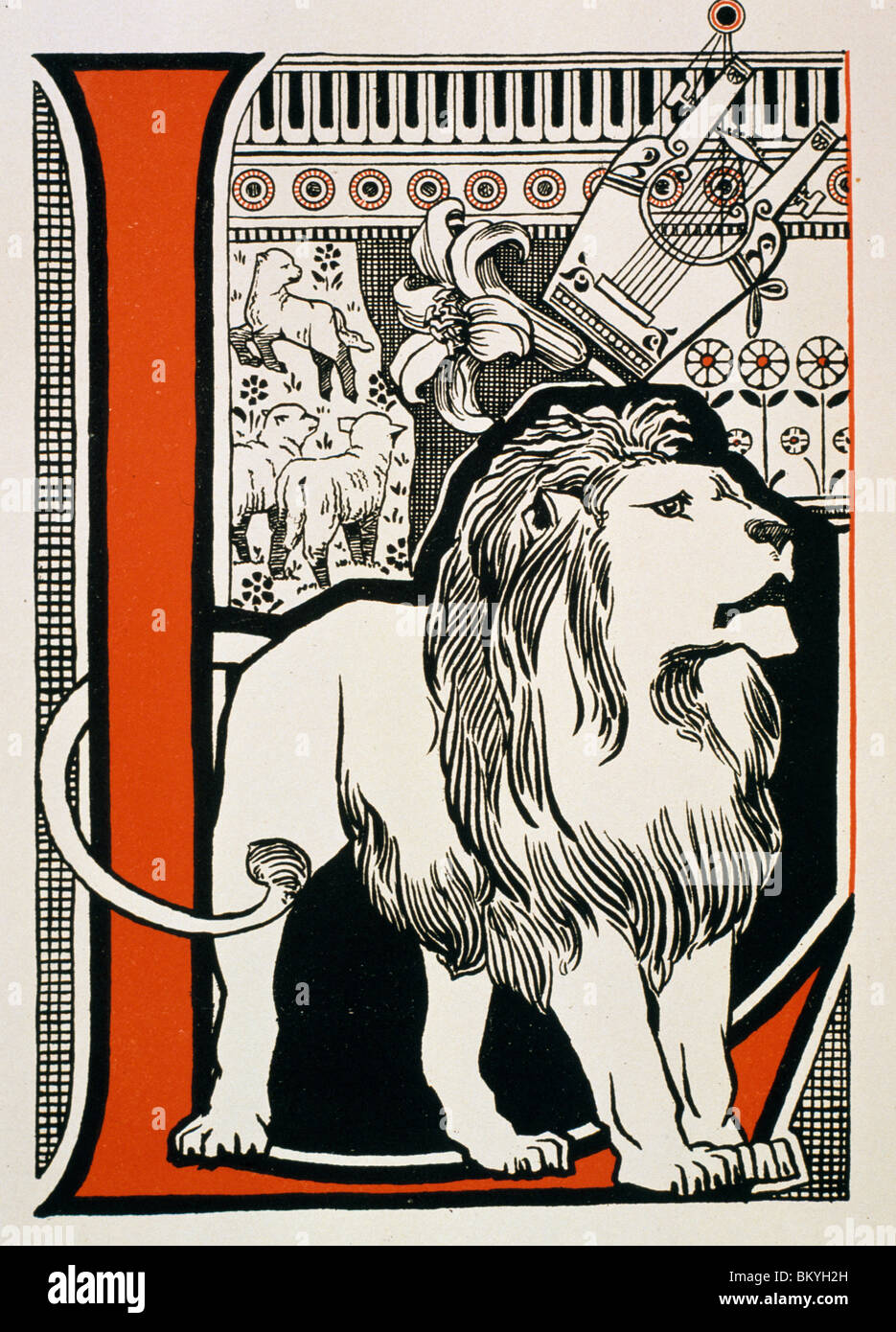 The Letter L Is For Lion Lyre From Book ABC By Theodore Howard USA Illinois Chicago Newberry Library