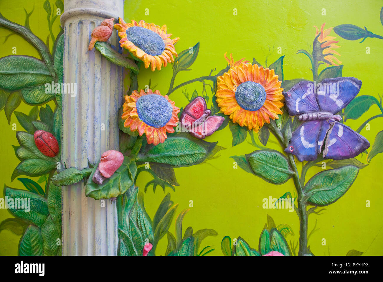 Decorative street art and murals on the sides of buildings in Willemstad, Curacao, Netherland Antilles. - Stock Image