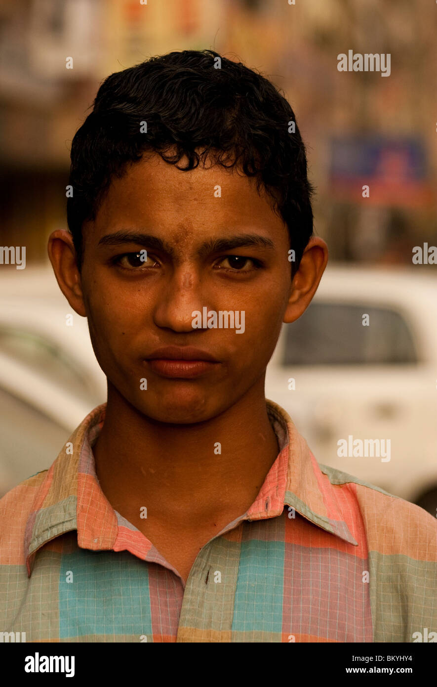 angry young man in Delhi, India - Stock Image