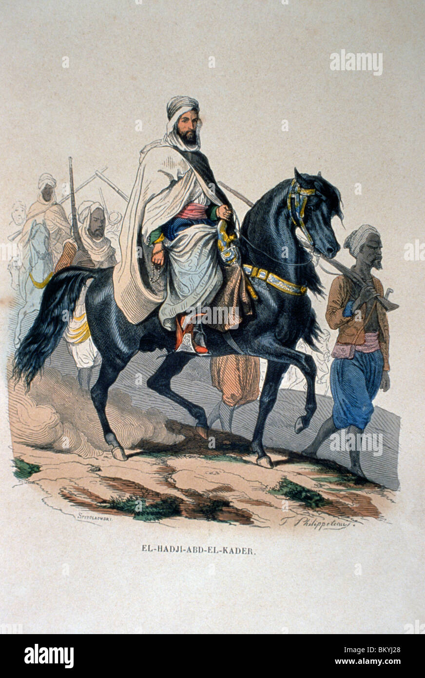Abd al-Qadir al-Jaza'iri by Artist Unknown from L'Afrique Francaise L'Empire De Maroc by P. Christian - Stock Image
