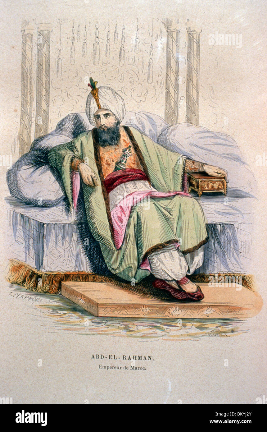 Moulay Sharif Abd-er-Rahman  sultan of Morocco by Artist Unknown (From L'Afrique L'Empire De Maroc by P. - Stock Image