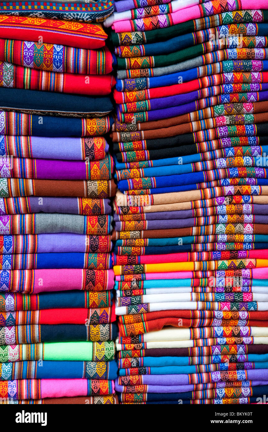 Closeup of colorful textiles in the shops of Miralfores, LIma, Peru, South America. - Stock Image