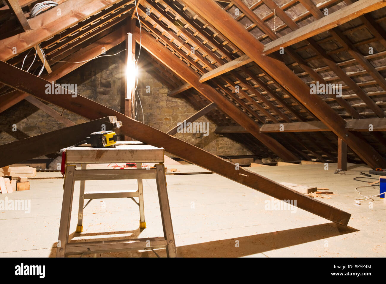 Loft conversion in progress in an Edwardian terraced house in Northumberland - Stock Image