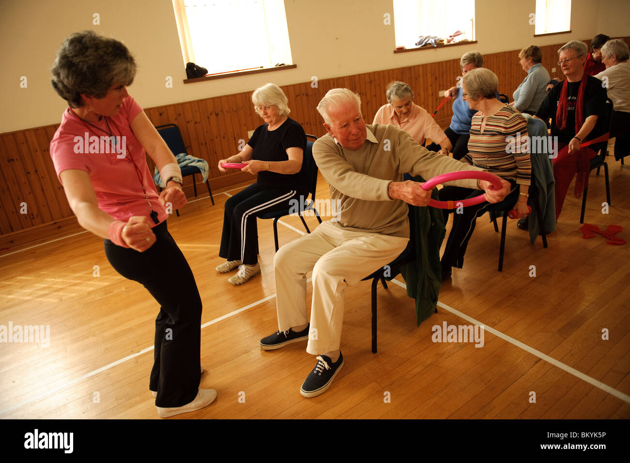 A Group Of Fit Active Senior Citizens Participating In Low Impact