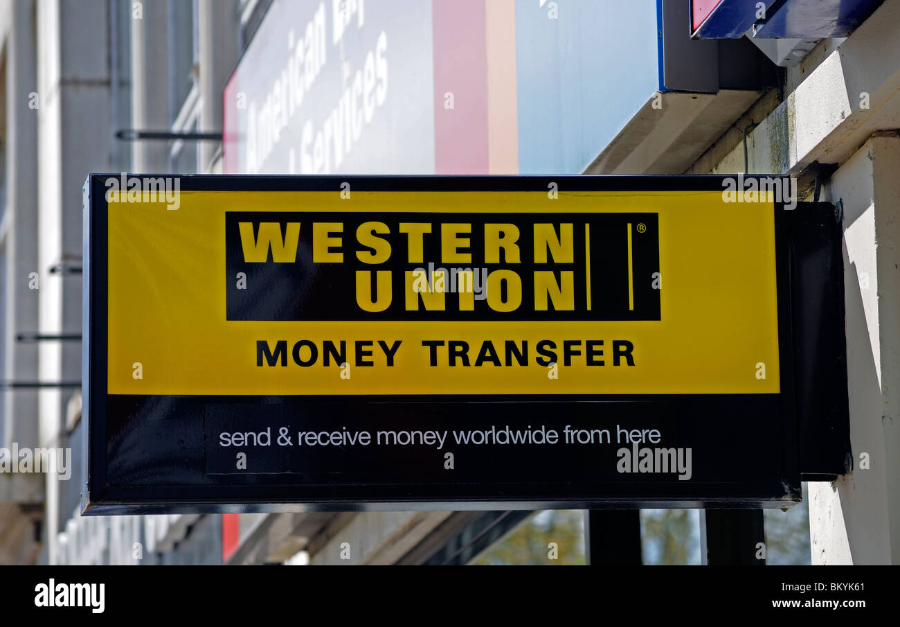 western union sign, uk - Stock Image