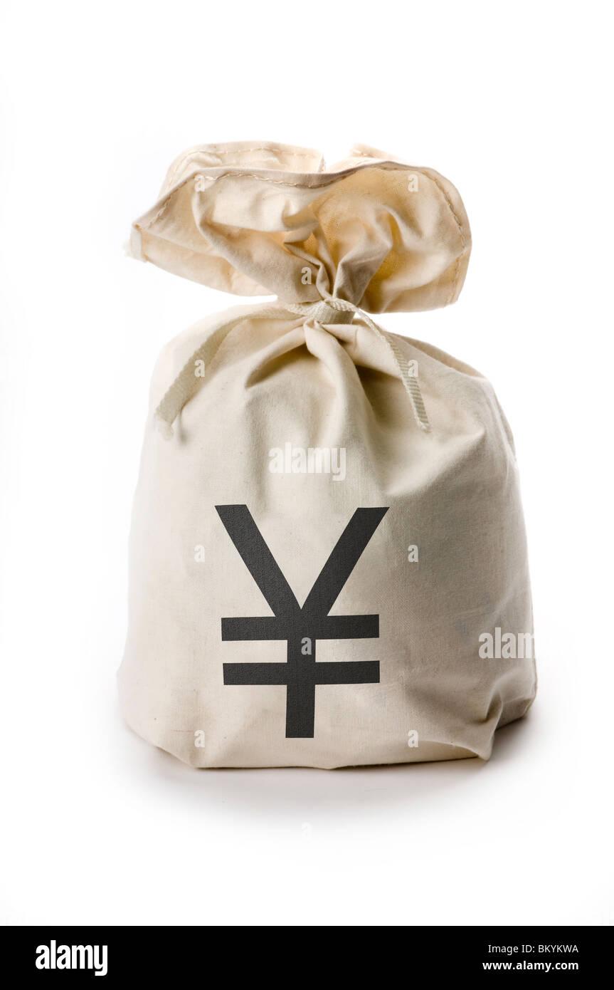 bag of yen money - Stock Image