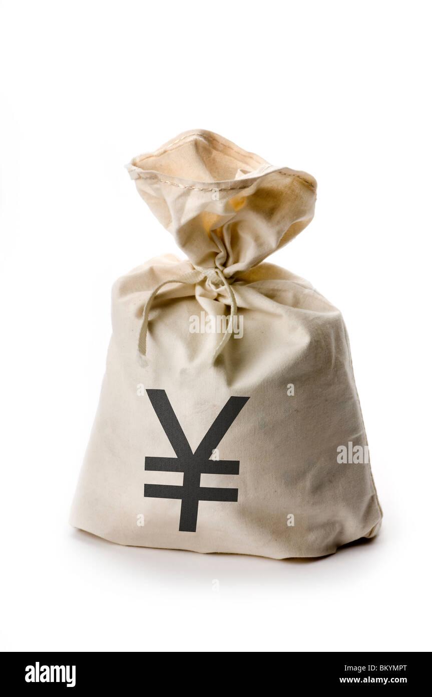 money bag on white - Stock Image