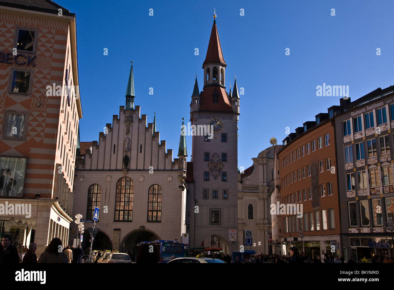 The Altes Rathaus ( Old Town Hall) near Marienplatz in Munich Germany in early spring sunlight - Stock Image