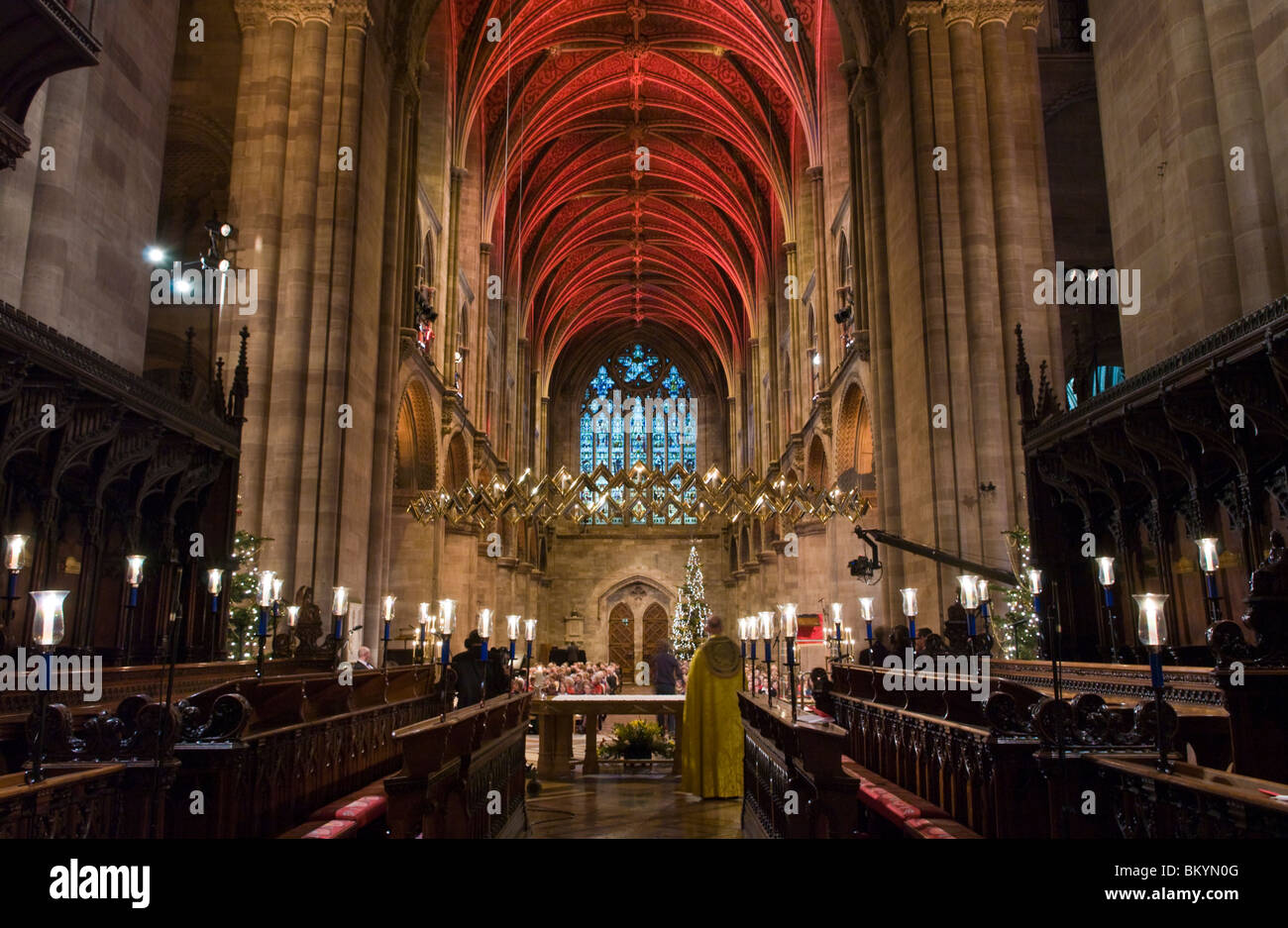 Interior of Hereford Cathedral lit for BBC Songs of Praise - Stock Image
