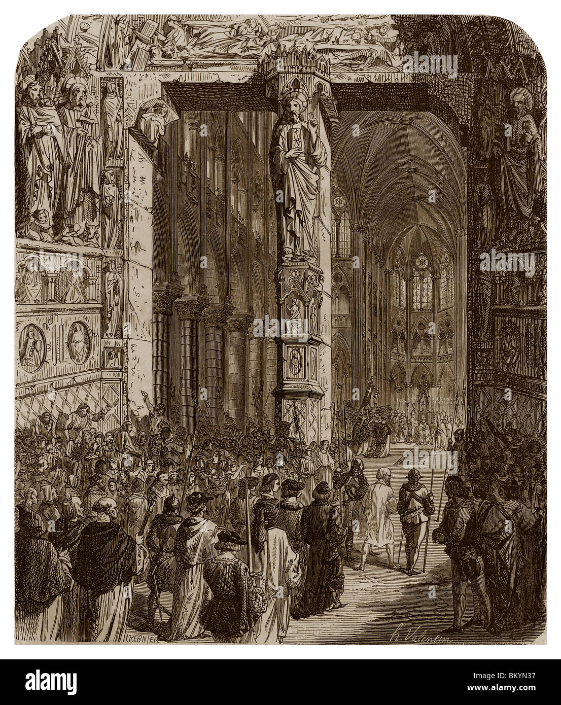 On 12th April 1229, Count Raymond VII of Toulouse swore in the church Notre-Dame of Paris to be in future faithful - Stock Image