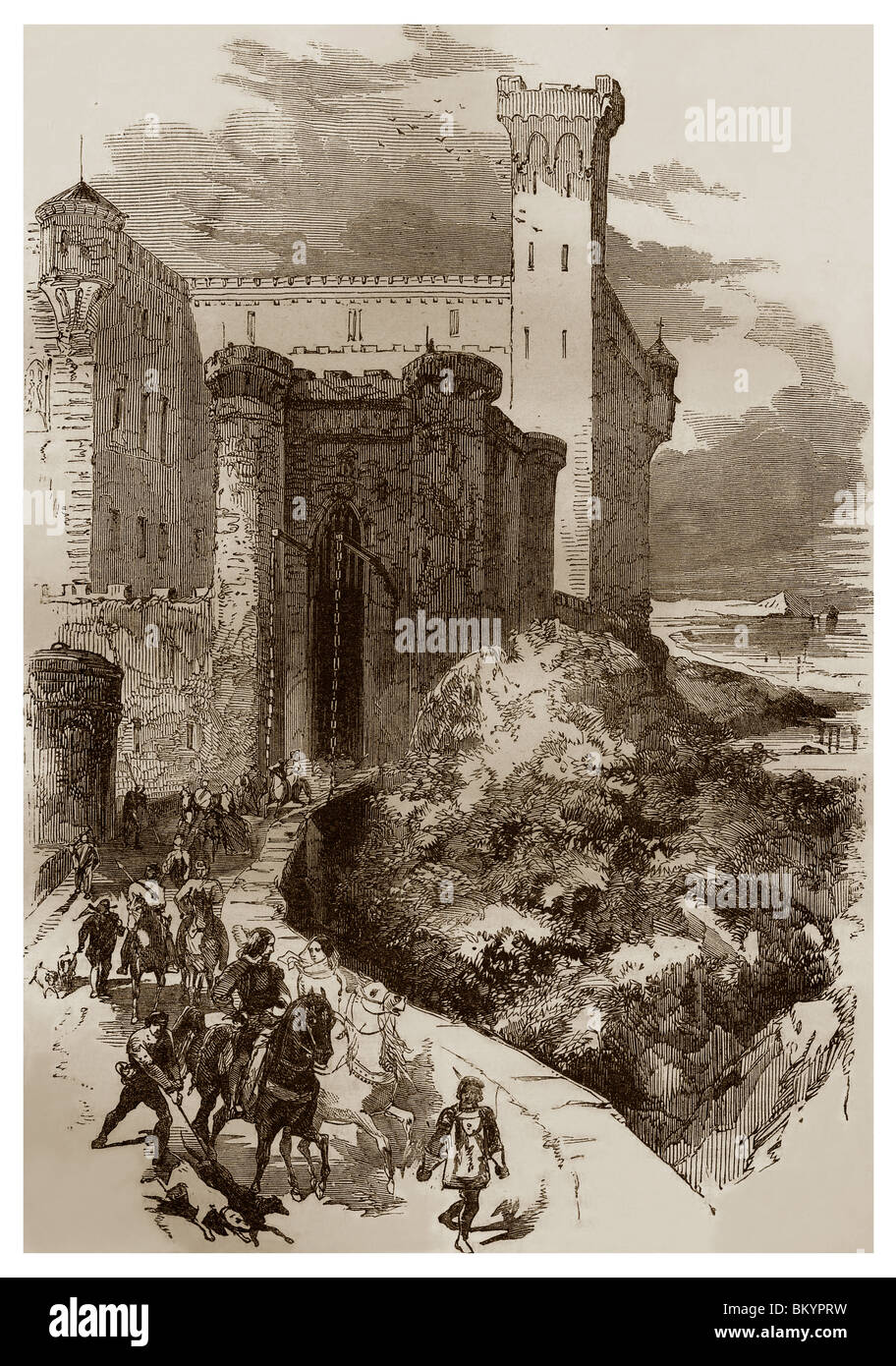 Feudal lord going out of his castle in France during the 11th century. - Stock Image