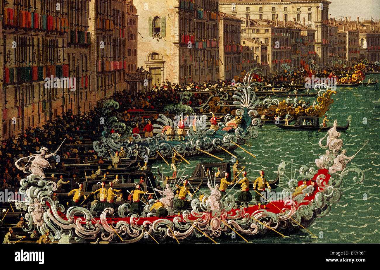 A Regatta on the Grand Canal (detail) by Canaletto  oil on canvas  Circa 1740  (1697-1768)  UK  England  London - Stock Image