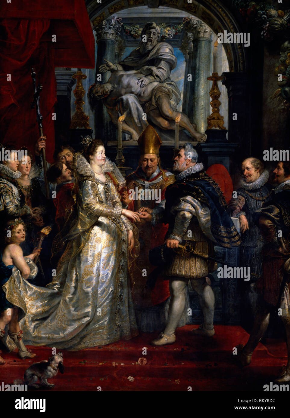 The Marriage in Florence  Life of Marie de Medici Queen of France by Peter Paul Rubens  1622  (1577-1640)  France - Stock Image