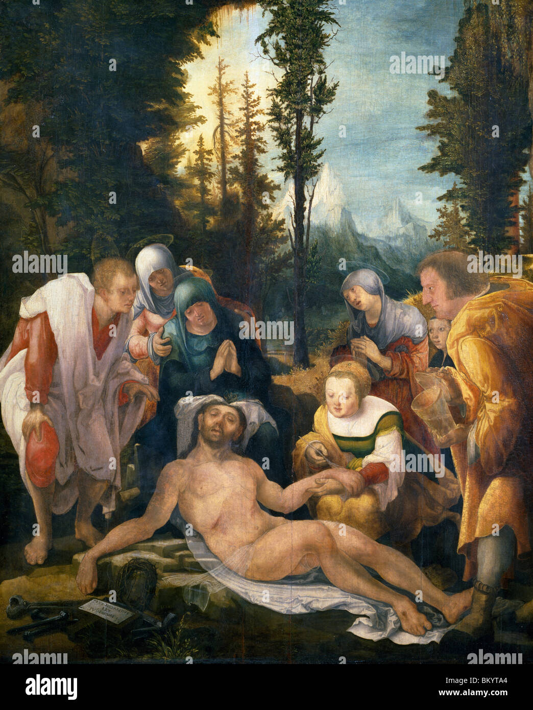 The Lamentation of Christ by Wolfgang Huber,  1524,  (Circa 1490-1553),  France,  Paris,  Musee du Louvre - Stock Image