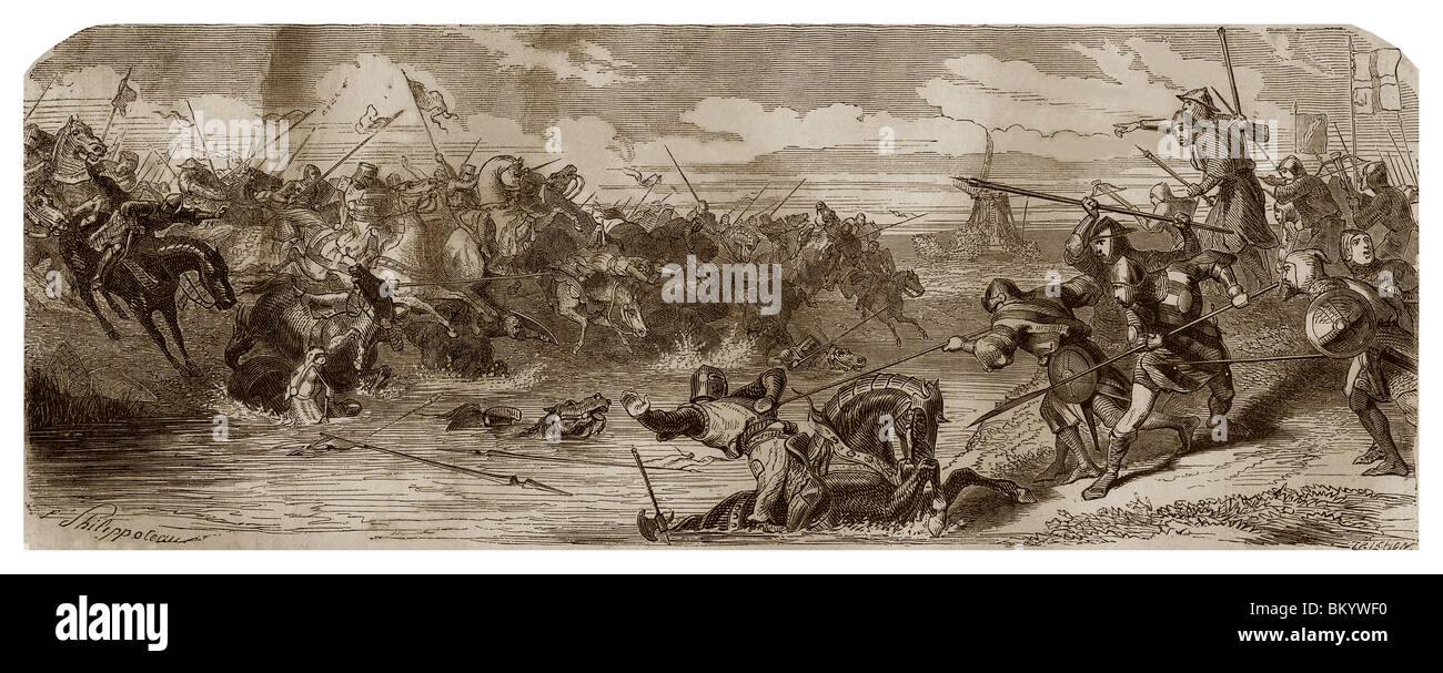 On 11th July 1302, battle of Courtray. - Stock Image
