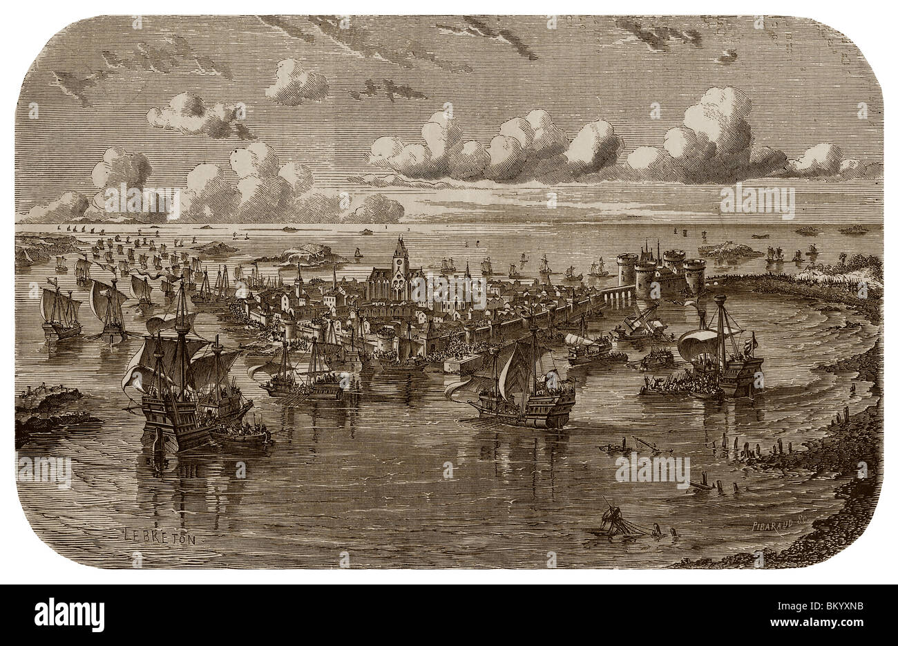 In 1376, during the Hundred Years' War, siege of Saint-Malo by the Englishmen. - Stock Image
