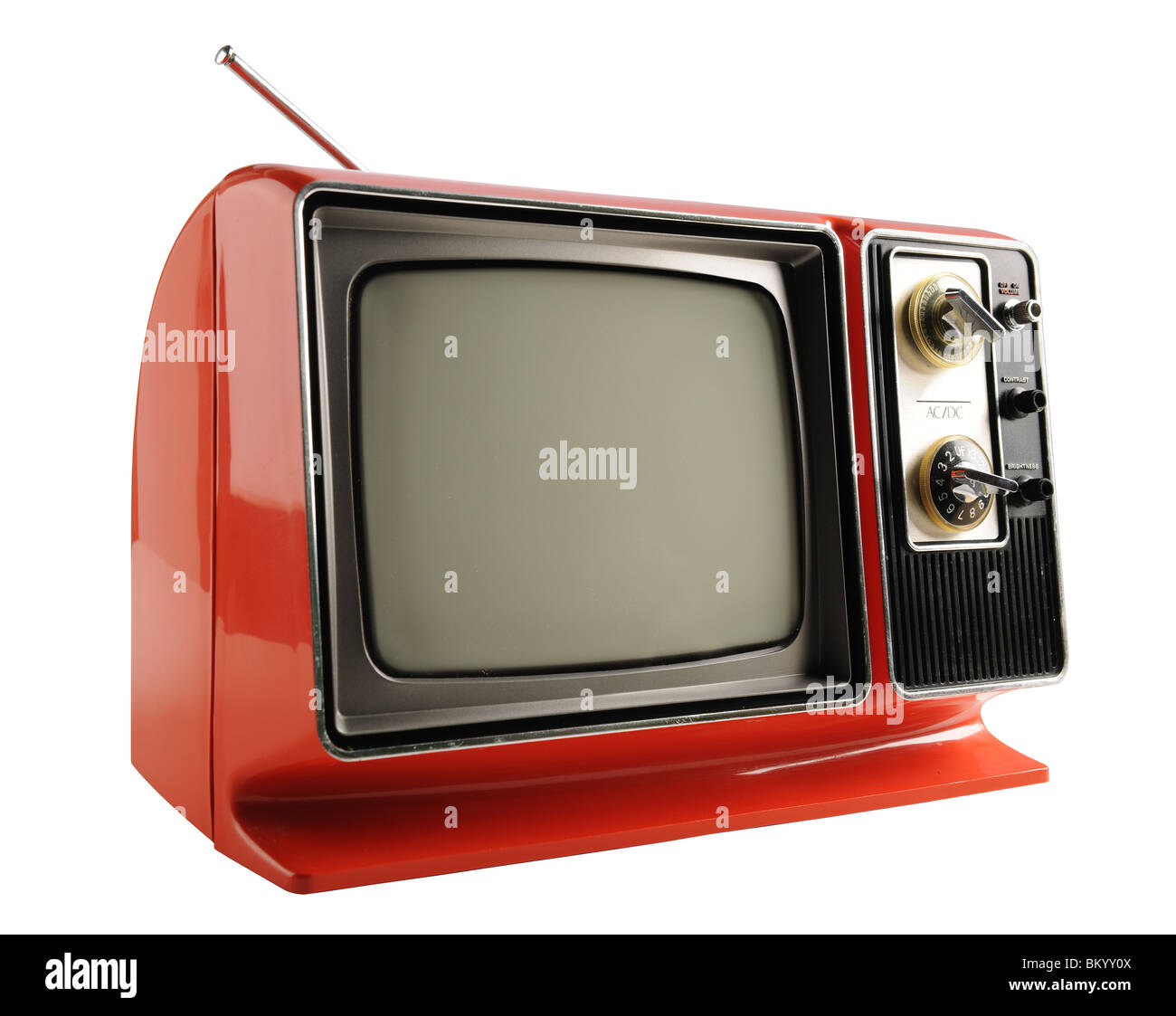 Orange vintage television from the 1970s - With clipping path - Stock Image