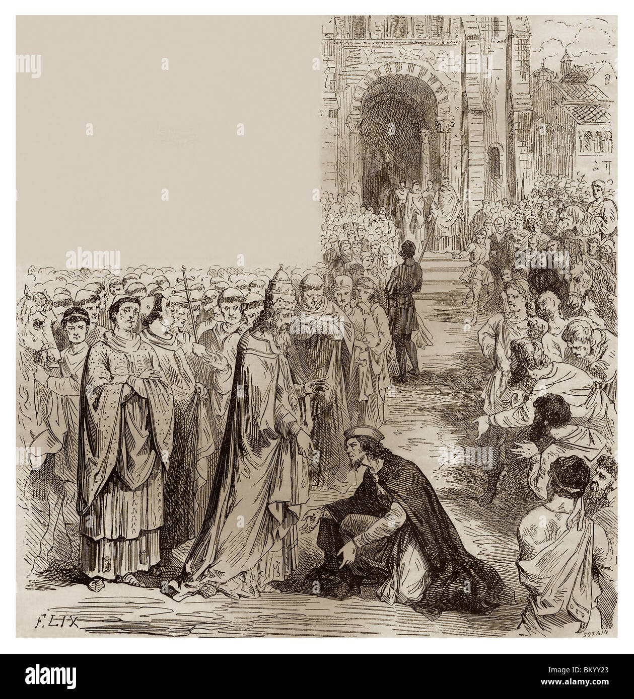 In October 816, Pope Steven IV was received by Louis the Debonaire who bowed down before him when the pope came - Stock Image