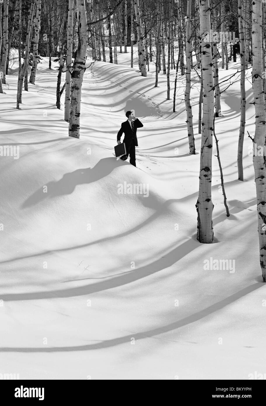 black and white monochrome image of a businessman carrying briefcase and cell phone lost in the snow and trees - Stock Image