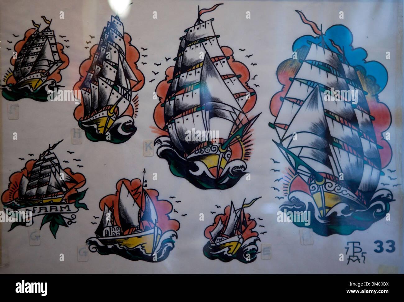 Tattoo Peters Tattoo Parlour, Amsterdam, Netherlands - Stock Image