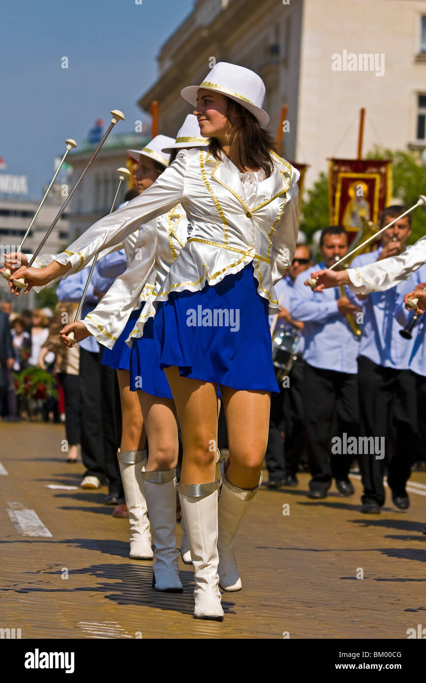 Cheerleaders marching on the yellow road on May 6th Army Day celebrations in Sofia, Bulgaria - Stock Image