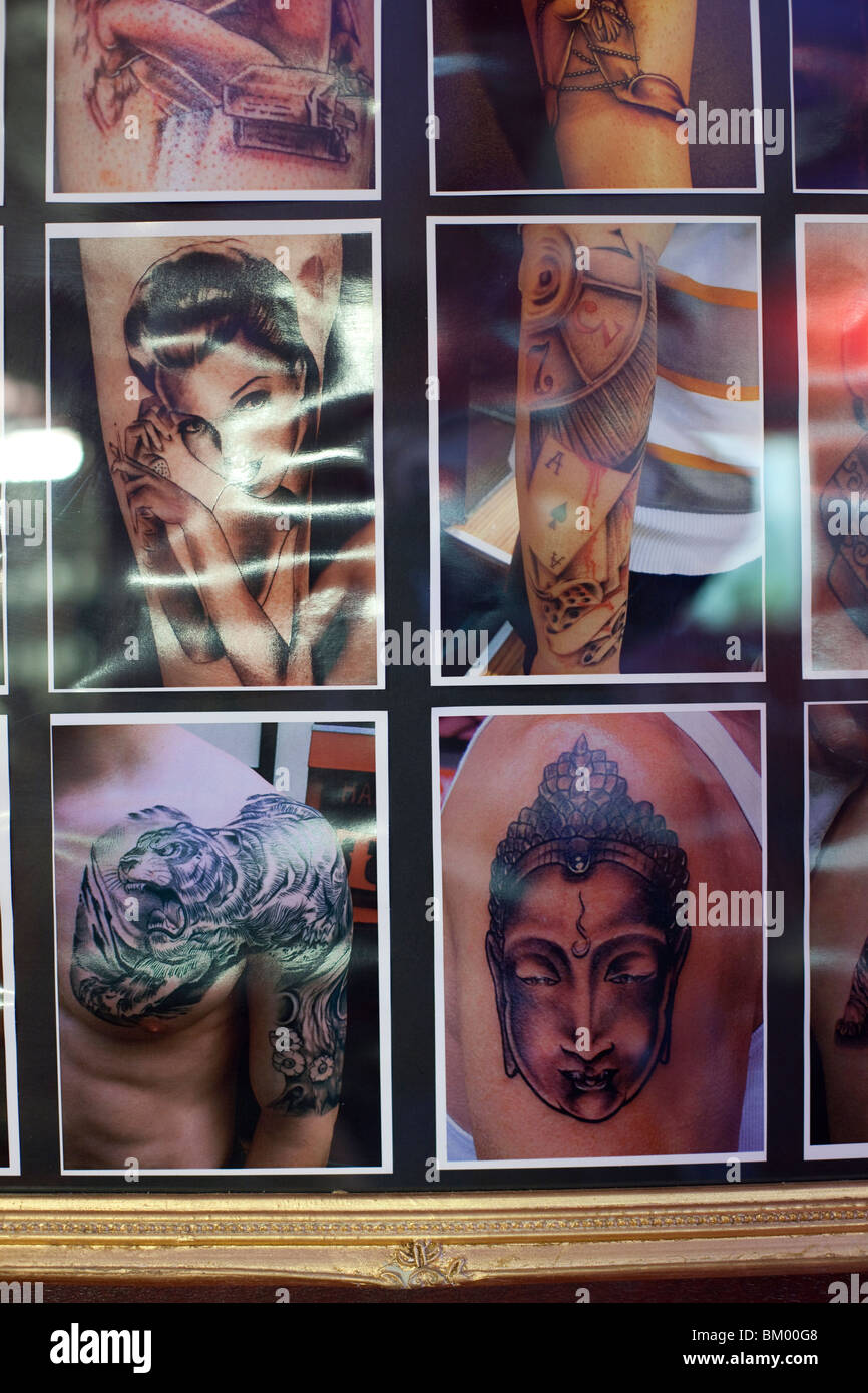 Hanky Panky Tattoo Parlour, Oudezijds Voorburgwal, Amsterdam, Netherlands Stock Photo