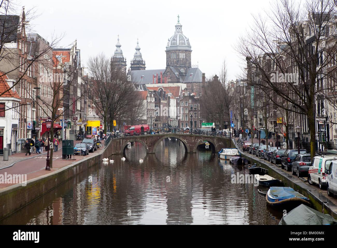 Canal, Jordaan area, Amsterdam Netherlands - Stock Image