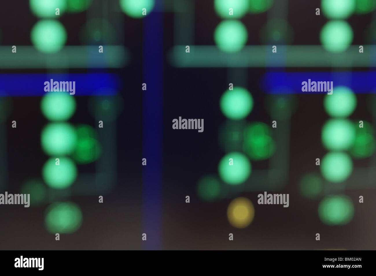 Concept image - blurred view of power substation schematics on computer SCADA display. - Stock Image