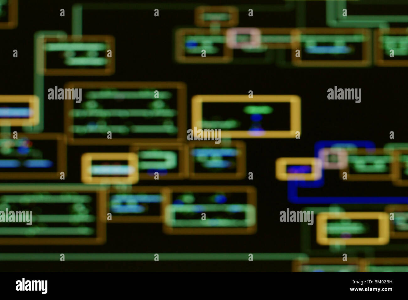 Concept image - blurred view of power network schematics on computer SCADA display. - Stock Image