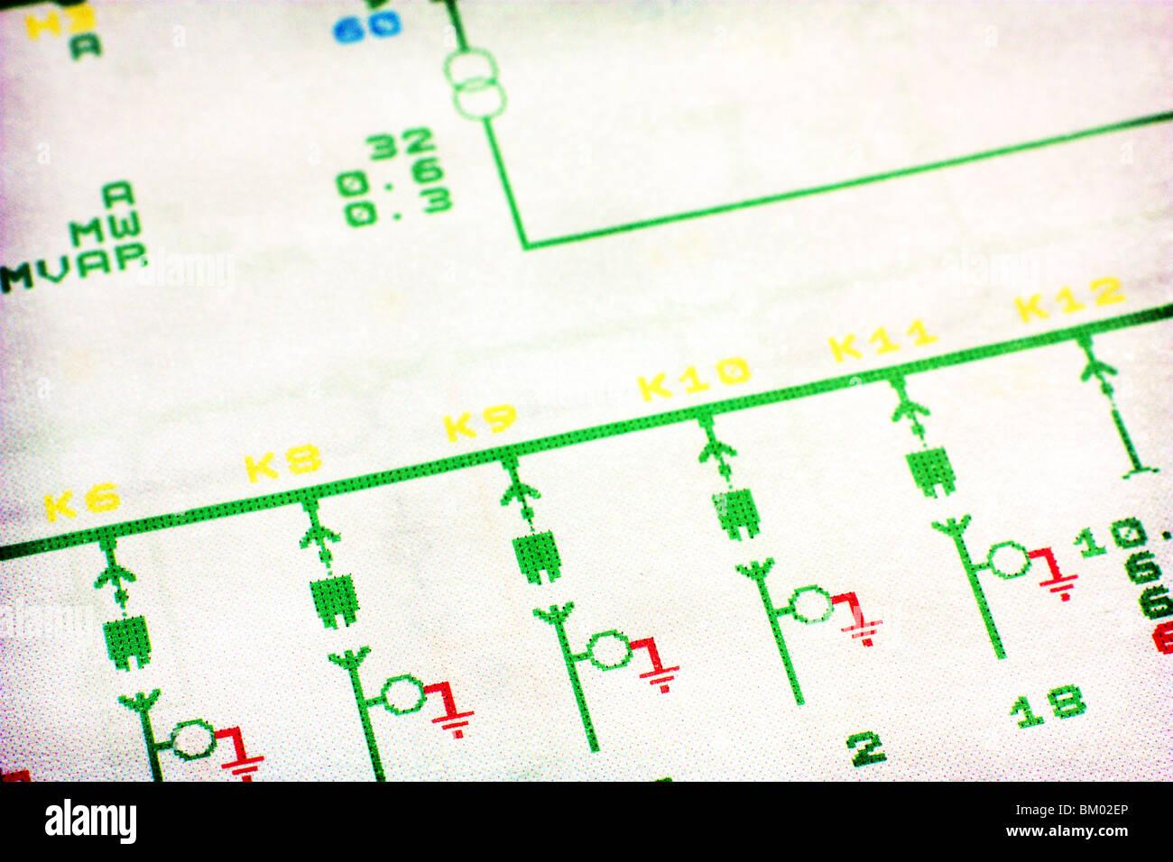 schematics scheme 10 kV voltage current transformer symbol grounding - Stock Image