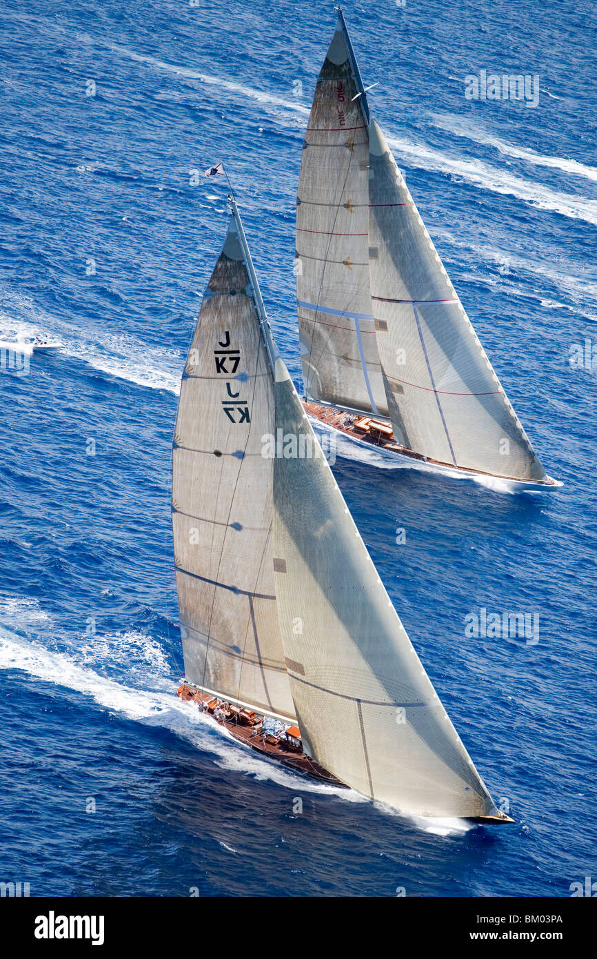 Aerial Photo of J-Class Cutters, Velsheda and Ranger, Antigua Classic Yacht Regatta, Antigua Stock Photo