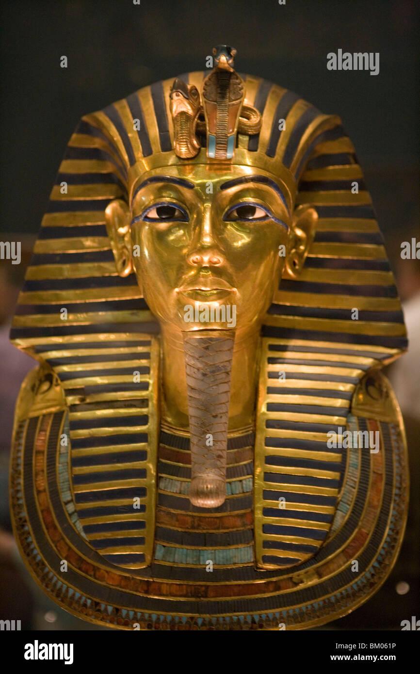 King Tutankhamun Golden Funeral Mask, Eqyptian National Museum, Cairo, Egypt - Stock Image