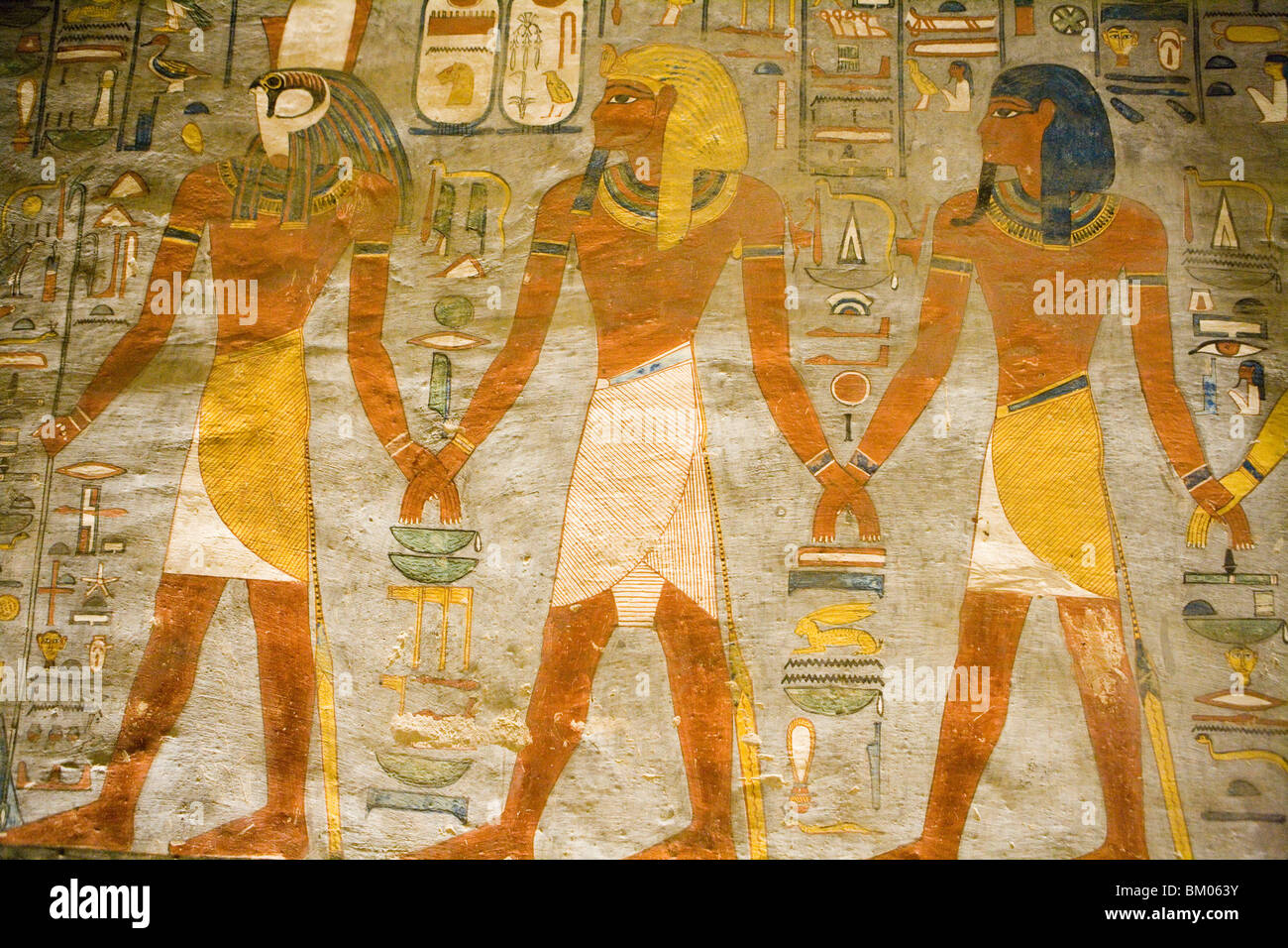 Hieroglyphics on Tomb Wall, Valley of the Kings, near Luxor, Egypt ...