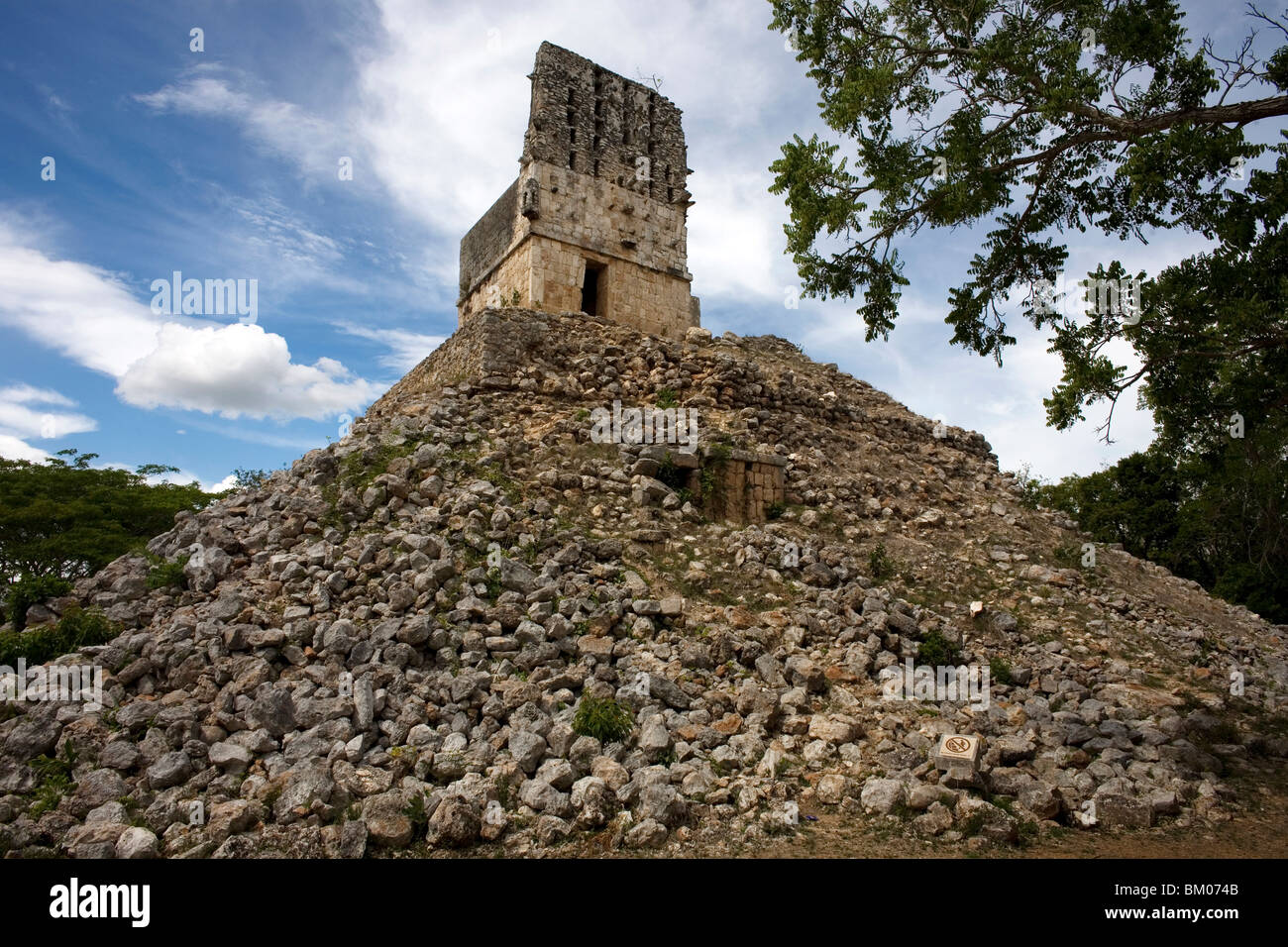 "The Viewpoint among the ruins of Labna, along the ""Puuc route,"" in Yucatan state on Mexico's Yucatan peninsula, Stock Photo"