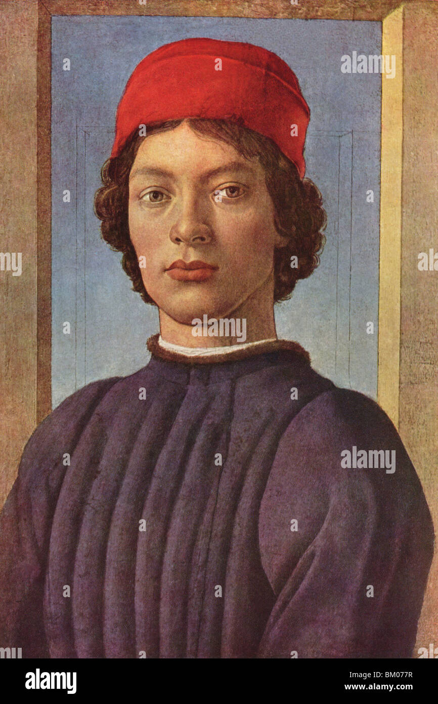 Portrait of a Young Man with red Cap - Stock Image