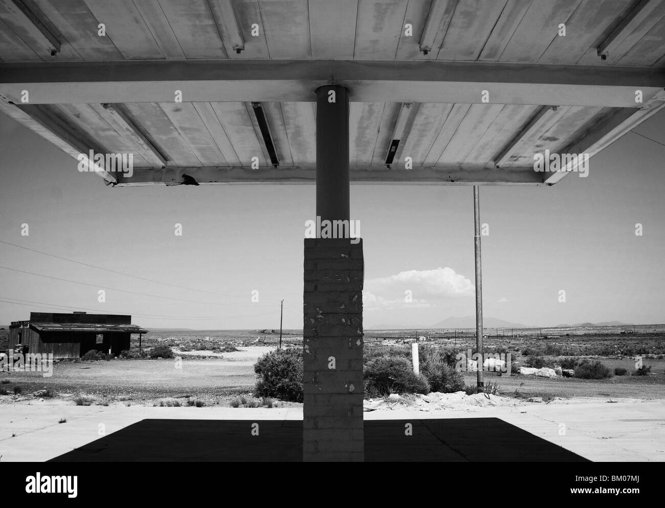 Arizona deserted building gas station landscape architecture awning at two guns ghost town along route 66 just east - Stock Image