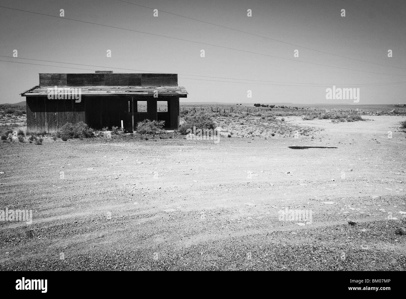 Arizona deserted dirt road wood building landscape architecture at two guns ghost town along route 66 just east - Stock Image