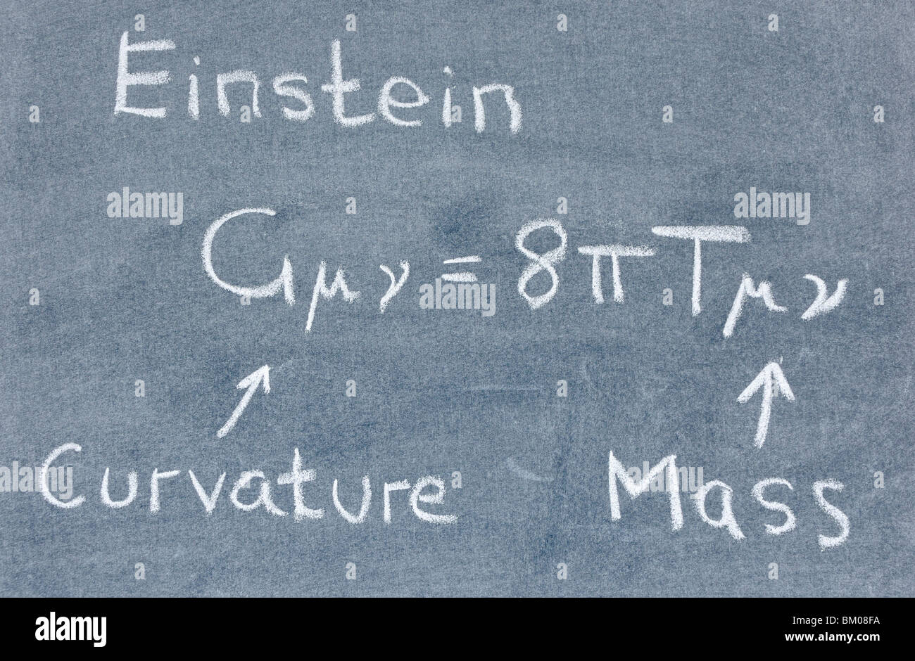 Einstein's field equation written on a blackboard - Stock Image
