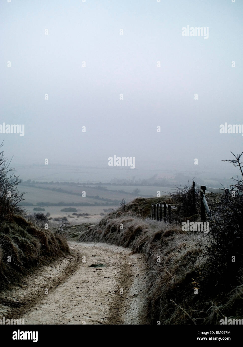 A country lane in winter on the Downs, Sussex, England - Stock Image