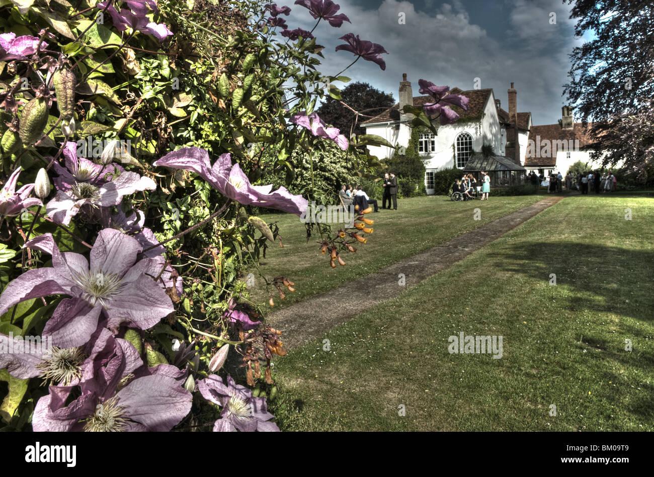 Summer garden wedding reception with clematis flowering in Suffolk England - Stock Image