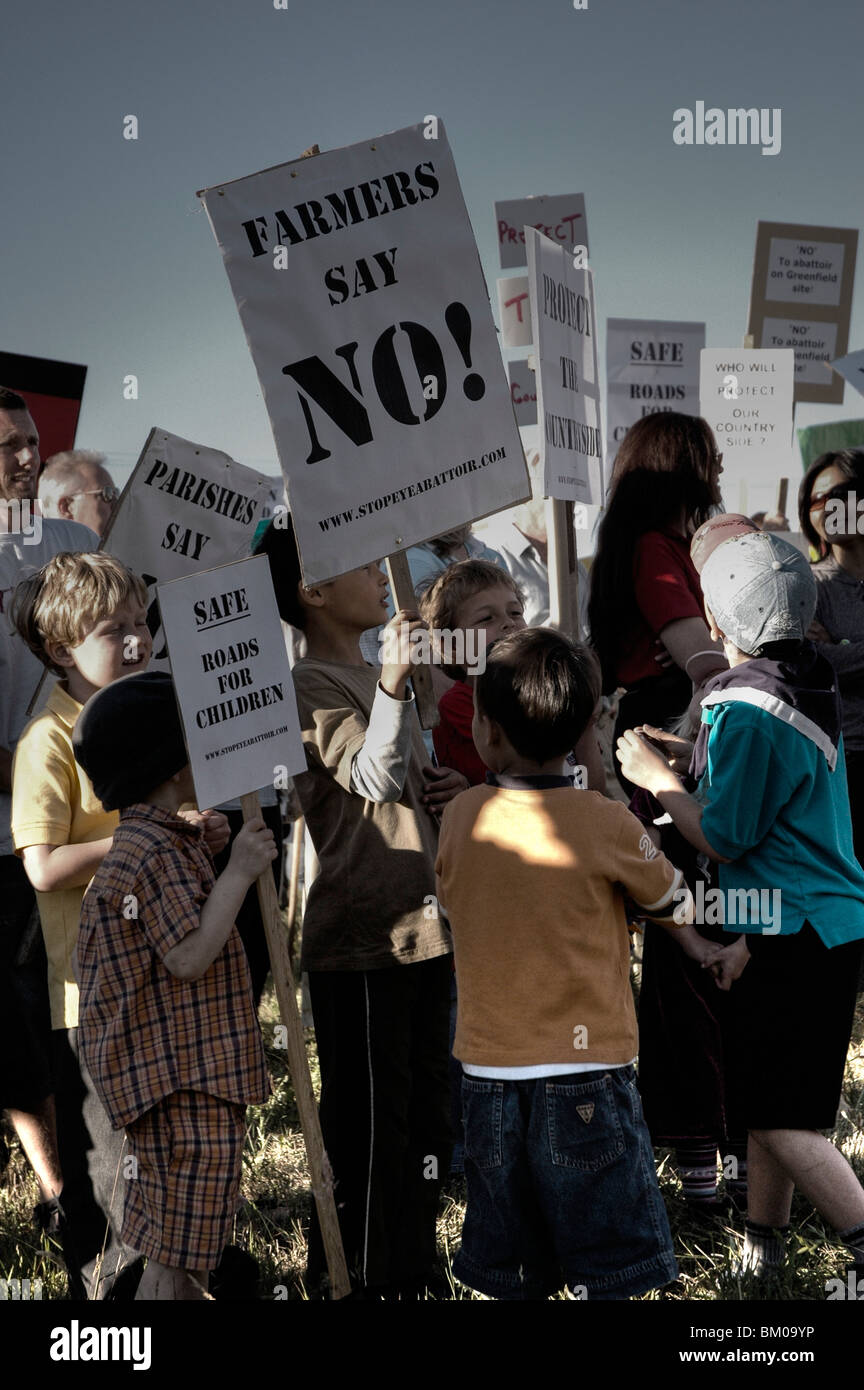 Children protesting with placards in Suffolk England - Stock Image