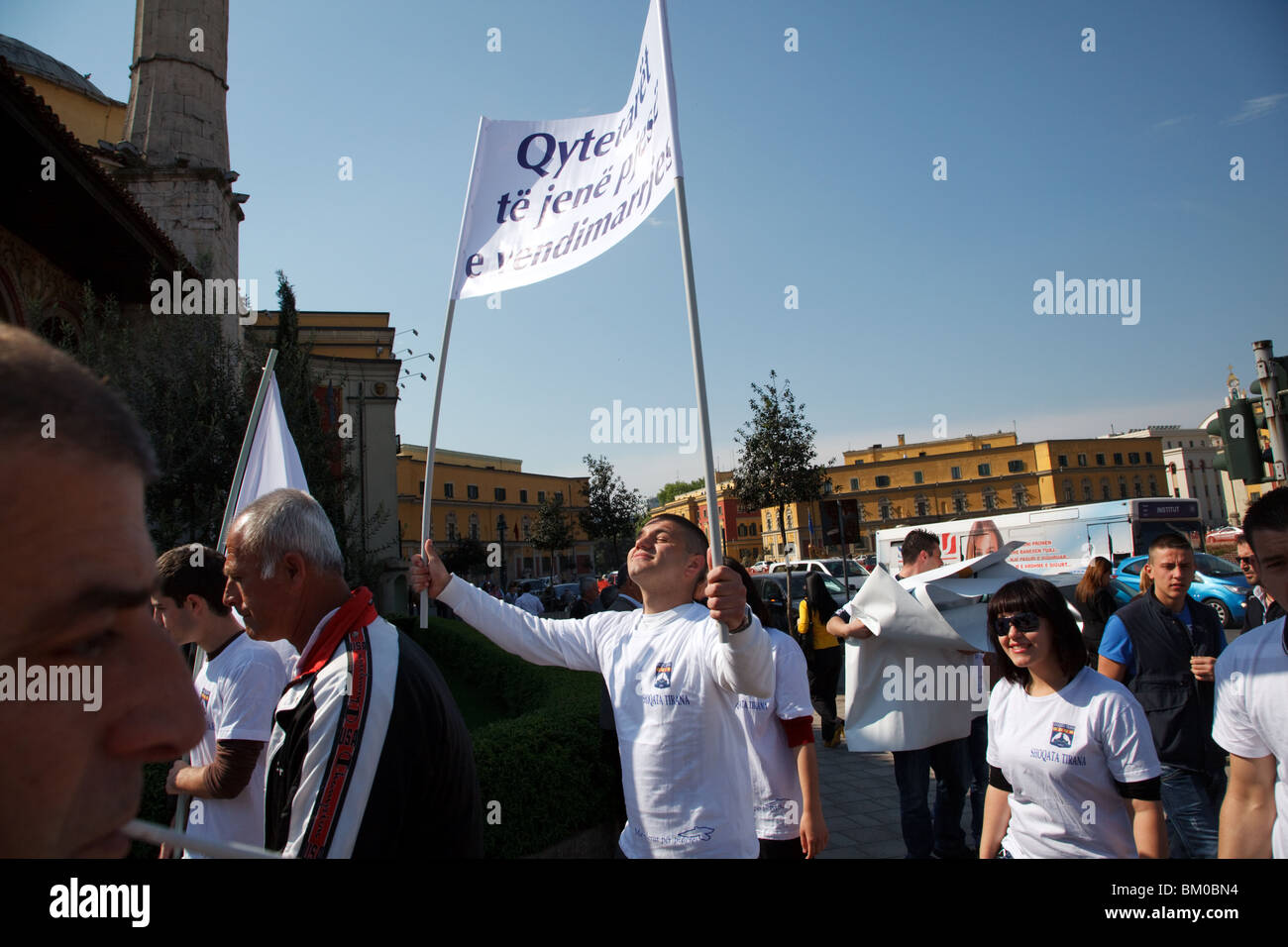 Young people protest in the city centre of Tirana, the capital of Albania. - Stock Image